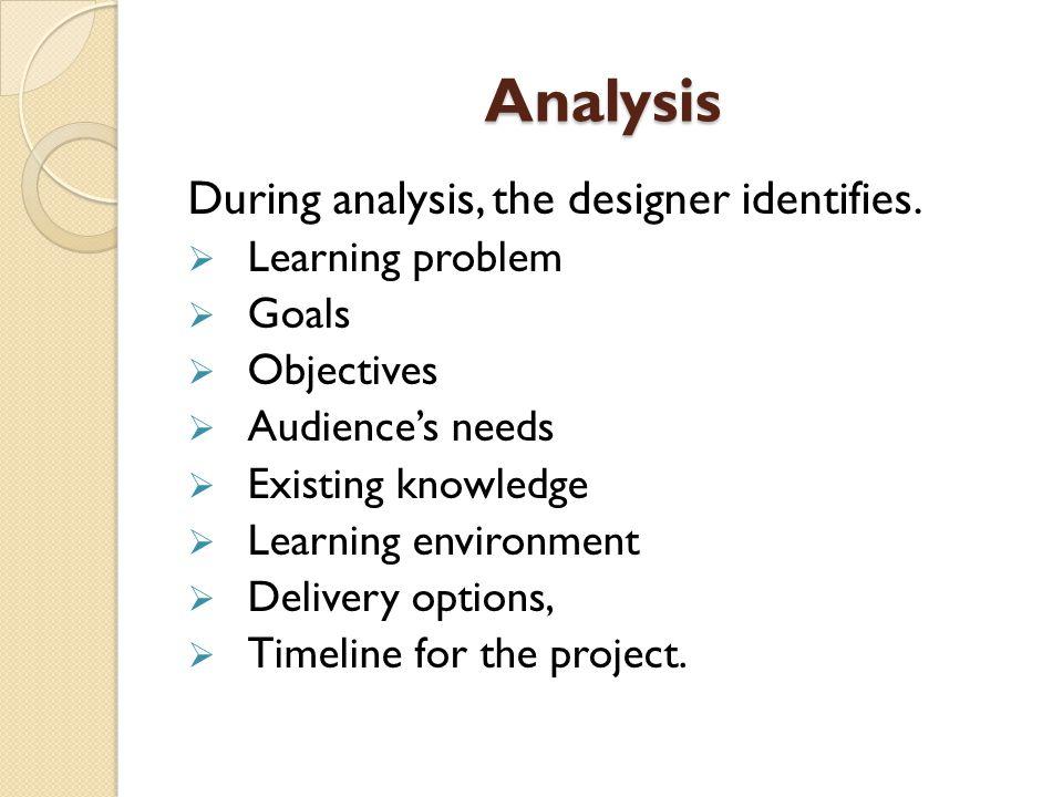 Analysis During analysis, the designer identifies.