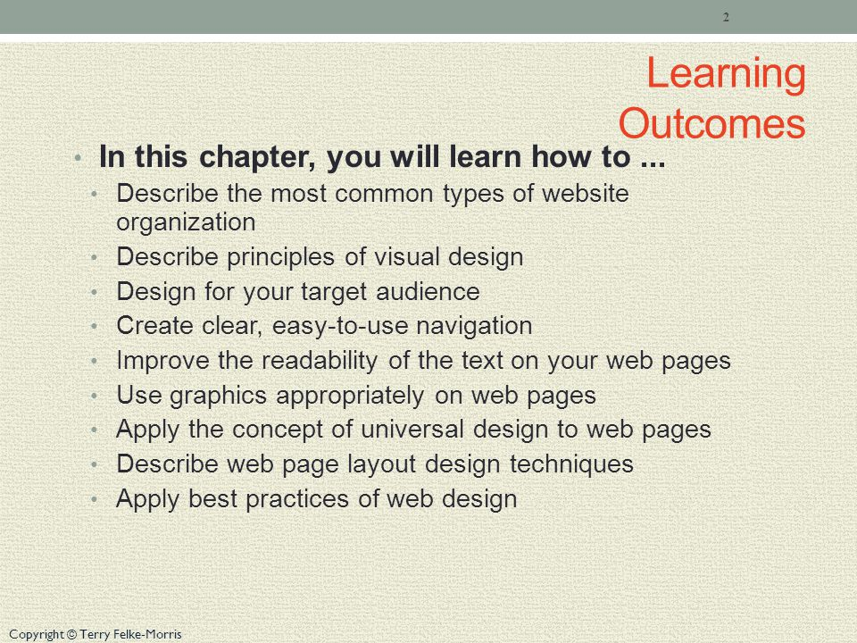 Learning Outcomes In this chapter, you will learn how to...