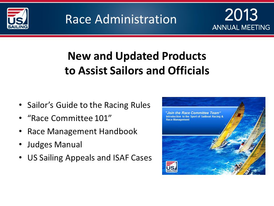 Race Administration Sailor's Guide to the Racing Rules Race Committee 101 Race Management Handbook Judges Manual US Sailing Appeals and ISAF Cases New and Updated Products to Assist Sailors and Officials