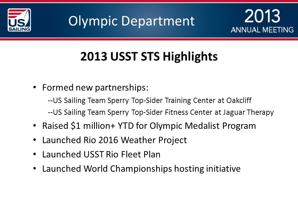 Olympic Department Formed new partnerships: --US Sailing Team Sperry Top-Sider Training Center at Oakcliff --US Sailing Team Sperry Top-Sider Fitness Center at Jaguar Therapy Raised $1 million+ YTD for Olympic Medalist Program Launched Rio 2016 Weather Project Launched USST Rio Fleet Plan Launched World Championships hosting initiative 2013 USST STS Highlights