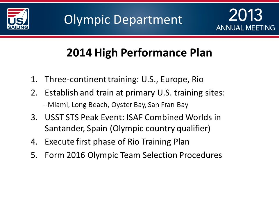 Olympic Department 1.Three-continent training: U.S., Europe, Rio 2.Establish and train at primary U.S.