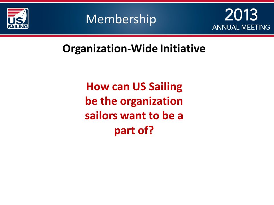 Membership Organization-Wide Initiative How can US Sailing be the organization sailors want to be a part of