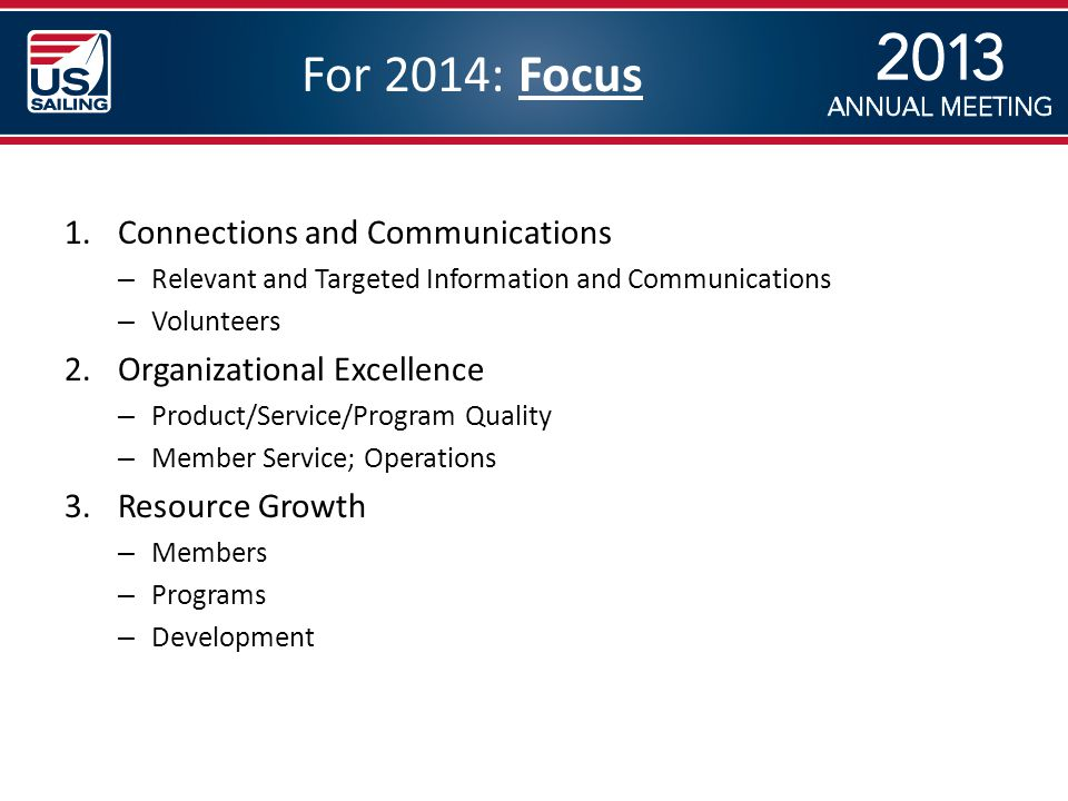 For 2014: Focus 1.Connections and Communications – Relevant and Targeted Information and Communications – Volunteers 2.Organizational Excellence – Product/Service/Program Quality – Member Service; Operations 3.Resource Growth – Members – Programs – Development