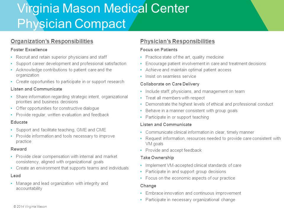 © 2014 Virginia Mason Virginia Mason Medical Center Physician Compact Organization's Responsibilities Foster Excellence Recruit and retain superior ph