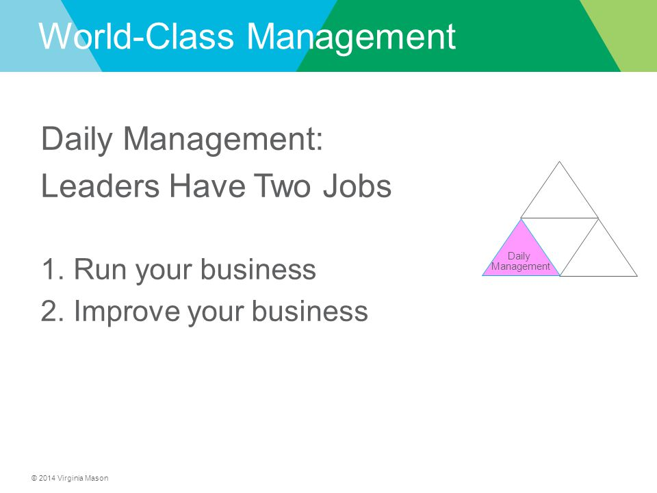 © 2014 Virginia Mason Daily Management World-Class Management Daily Management: Leaders Have Two Jobs 1.Run your business 2.Improve your business