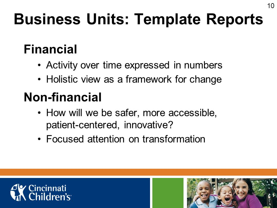 Business Units: Template Reports Financial Activity over time expressed in numbers Holistic view as a framework for change Non-financial How will we b