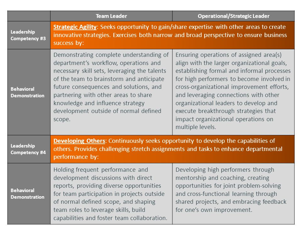 Team LeaderOperational/Strategic Leader Leadership Competency #3 Strategic Agility: Seeks opportunity to gain/share expertise with other areas to create innovative strategies.
