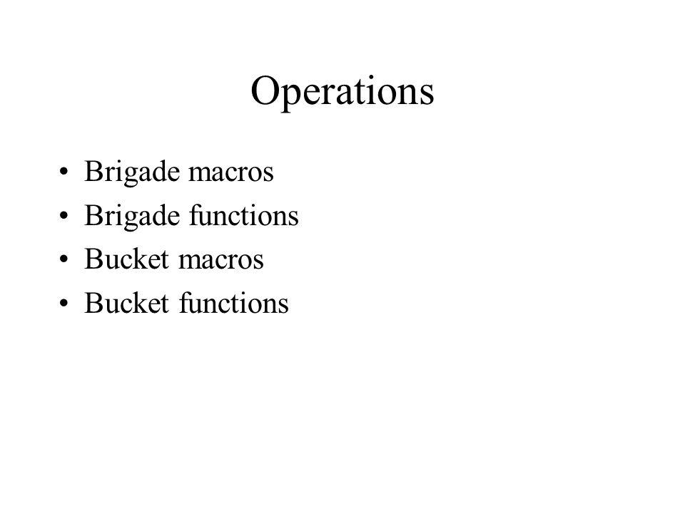 Operations Brigade macros Brigade functions Bucket macros Bucket functions