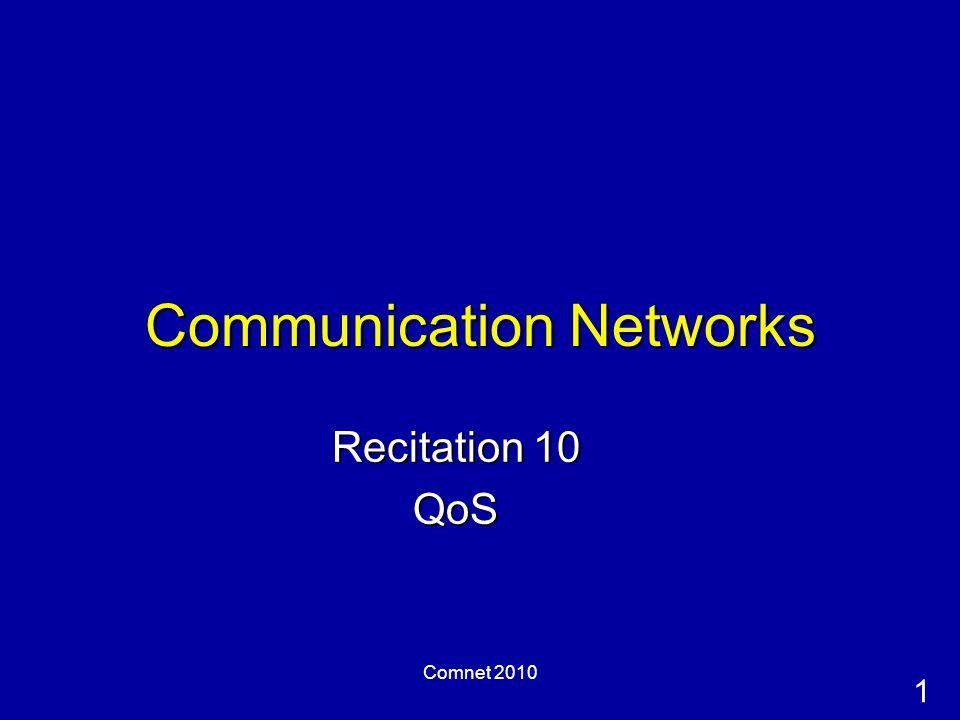 1 Comnet 2010 Communication Networks Recitation 10 QoS