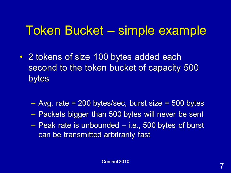 7 Comnet 2010 Token Bucket – simple example 2 tokens of size 100 bytes added each second to the token bucket of capacity 500 bytes2 tokens of size 100