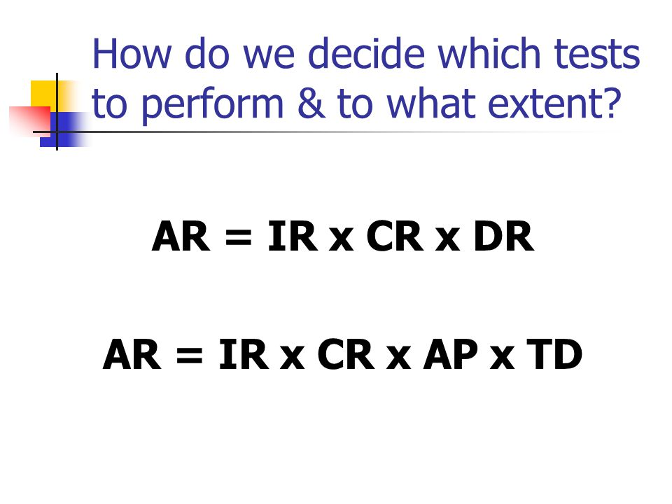 How do we decide which tests to perform & to what extent? AR = IR x CR x DR AR = IR x CR x AP x TD