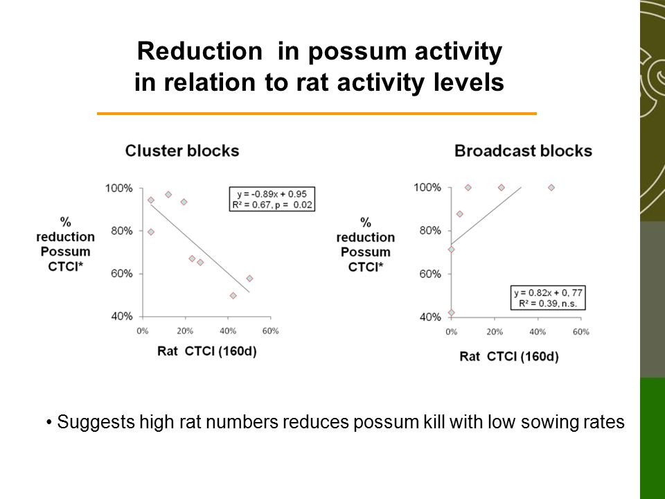 Reduction in possum activity in relation to rat activity levels Suggests high rat numbers reduces possum kill with low sowing rates