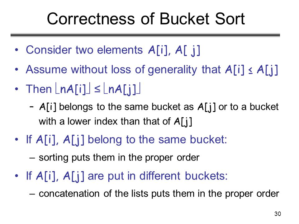 30 Correctness of Bucket Sort Consider two elements A[i], A[ j] Assume without loss of generality that A[i] ≤ A[j] Then  nA[i]  ≤  nA[j]  –A[i] belongs to the same bucket as A[j] or to a bucket with a lower index than that of A[j] If A[i], A[j] belong to the same bucket: –sorting puts them in the proper order If A[i], A[j] are put in different buckets: –concatenation of the lists puts them in the proper order