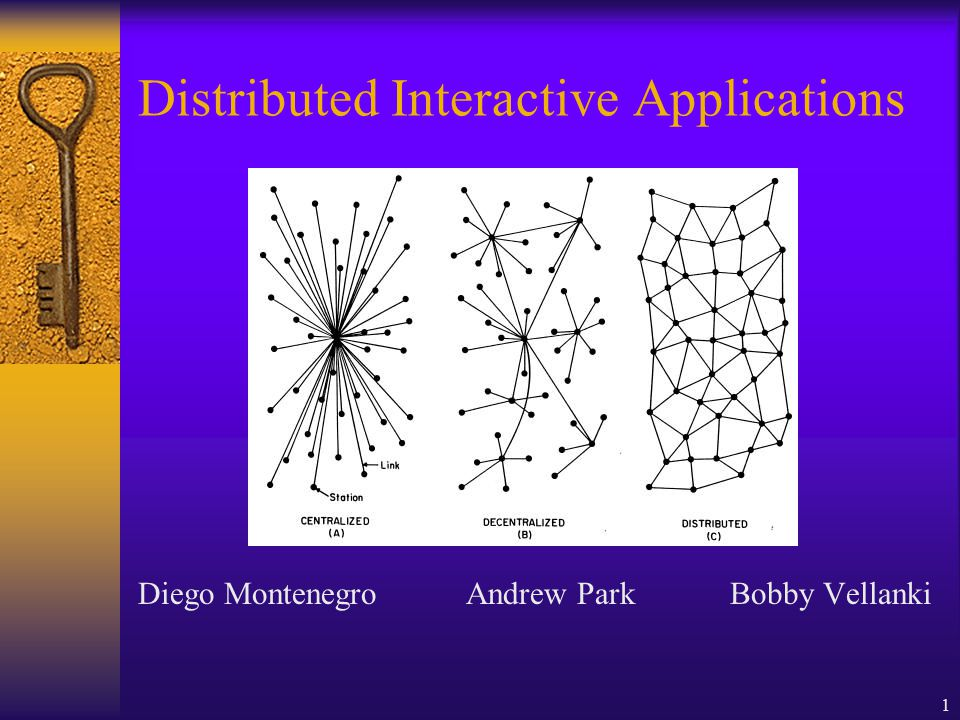 1 Distributed Interactive Applications Diego Montenegro Andrew Park Bobby Vellanki
