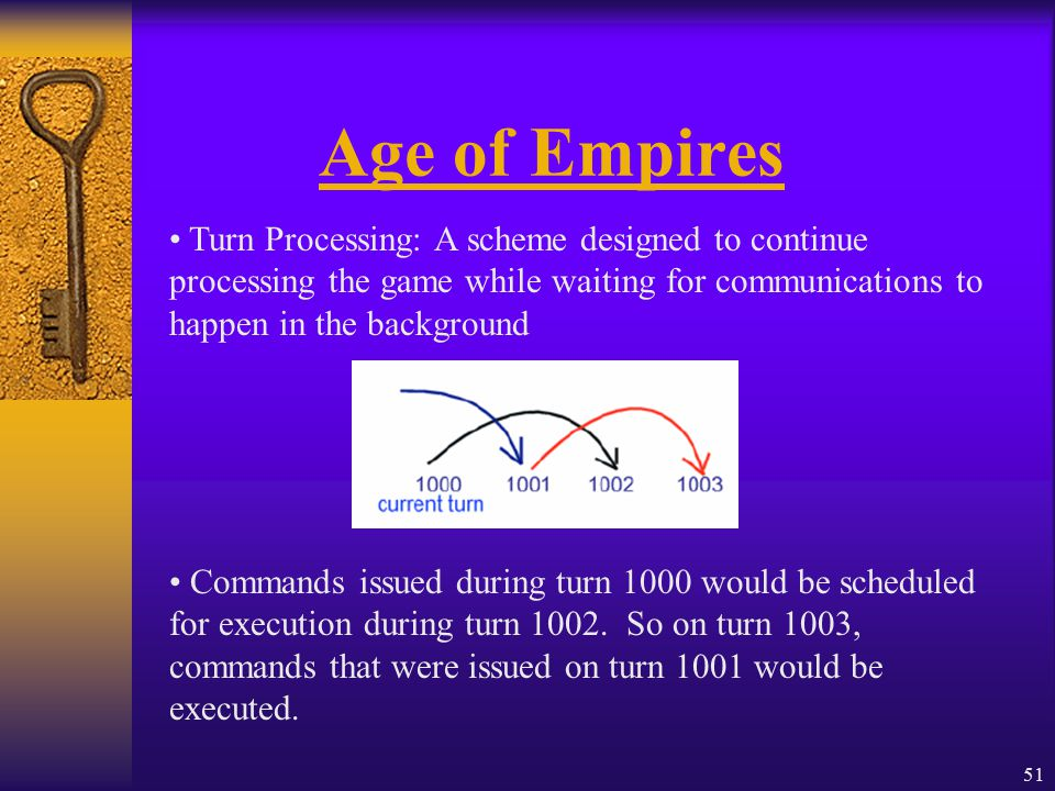 51 Age of Empires Turn Processing: A scheme designed to continue processing the game while waiting for communications to happen in the background Commands issued during turn 1000 would be scheduled for execution during turn 1002.