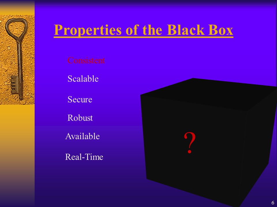 6 Secure Scalable Consistent Robust Real-Time Available Properties of the Black Box
