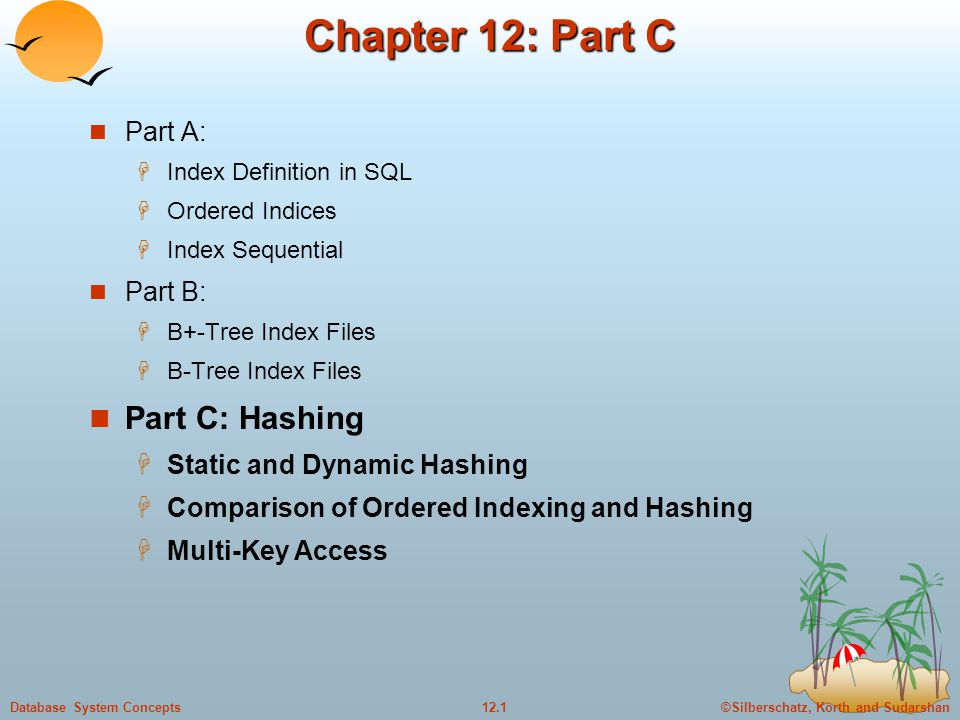©Silberschatz, Korth and Sudarshan12.1Database System Concepts Chapter 12: Part C Part A:  Index Definition in SQL  Ordered Indices  Index Sequential Part B:  B+-Tree Index Files  B-Tree Index Files Part C: Hashing  Static and Dynamic Hashing  Comparison of Ordered Indexing and Hashing  Multi-Key Access