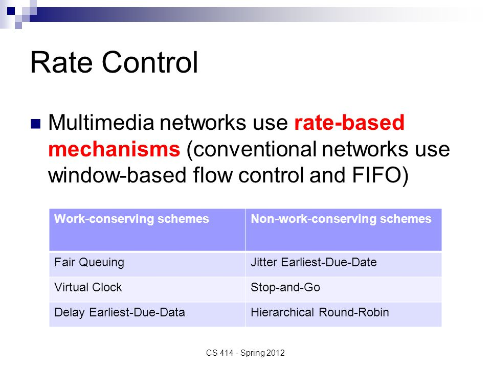 Rate Control Multimedia networks use rate-based mechanisms (conventional networks use window-based flow control and FIFO) CS 414 - Spring 2012 Work-conserving schemesNon-work-conserving schemes Fair QueuingJitter Earliest-Due-Date Virtual ClockStop-and-Go Delay Earliest-Due-DataHierarchical Round-Robin