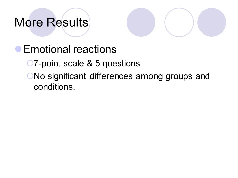 More Results Emotional reactions  7-point scale & 5 questions  No significant differences among groups and conditions.