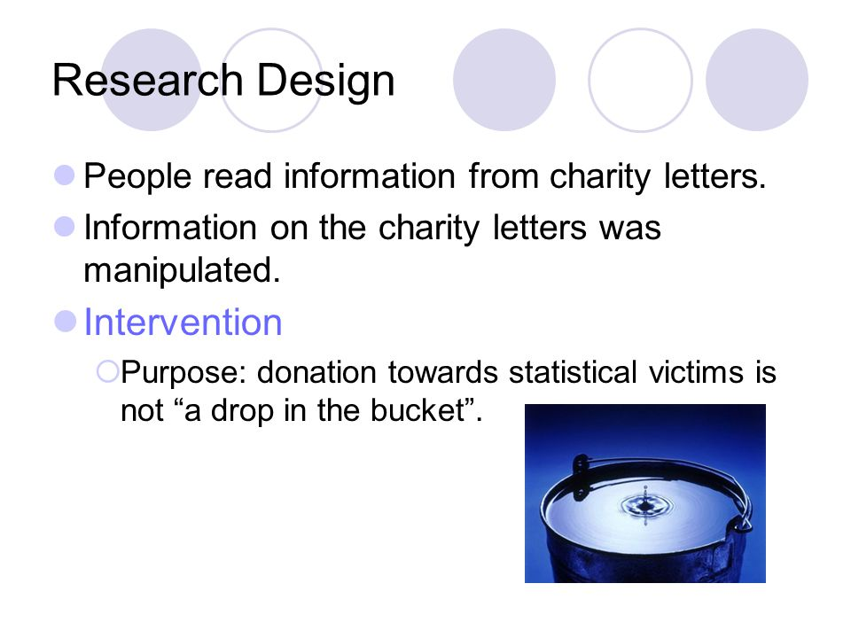 Research Design People read information from charity letters.