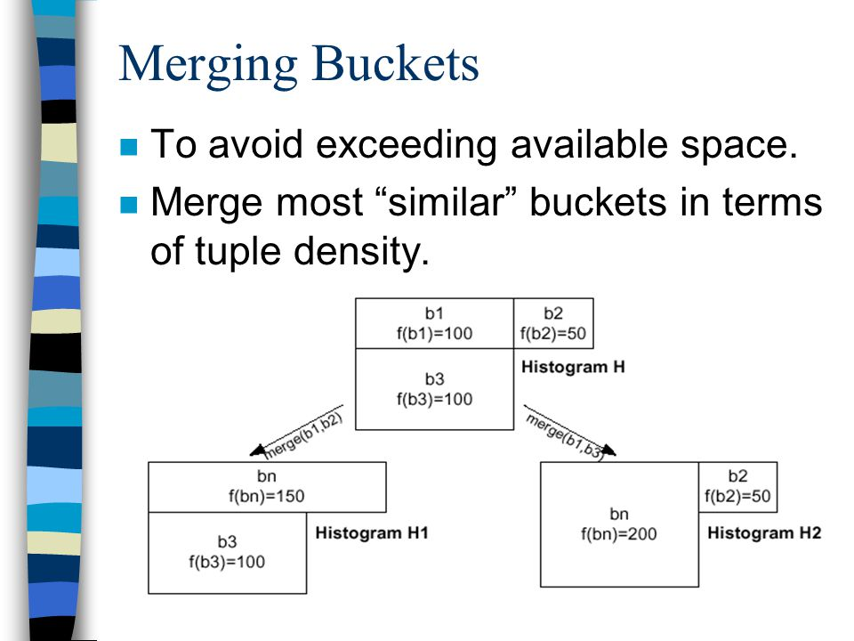 "15 Merging Buckets n To avoid exceeding available space. n Merge most ""similar"" buckets in terms of tuple density."