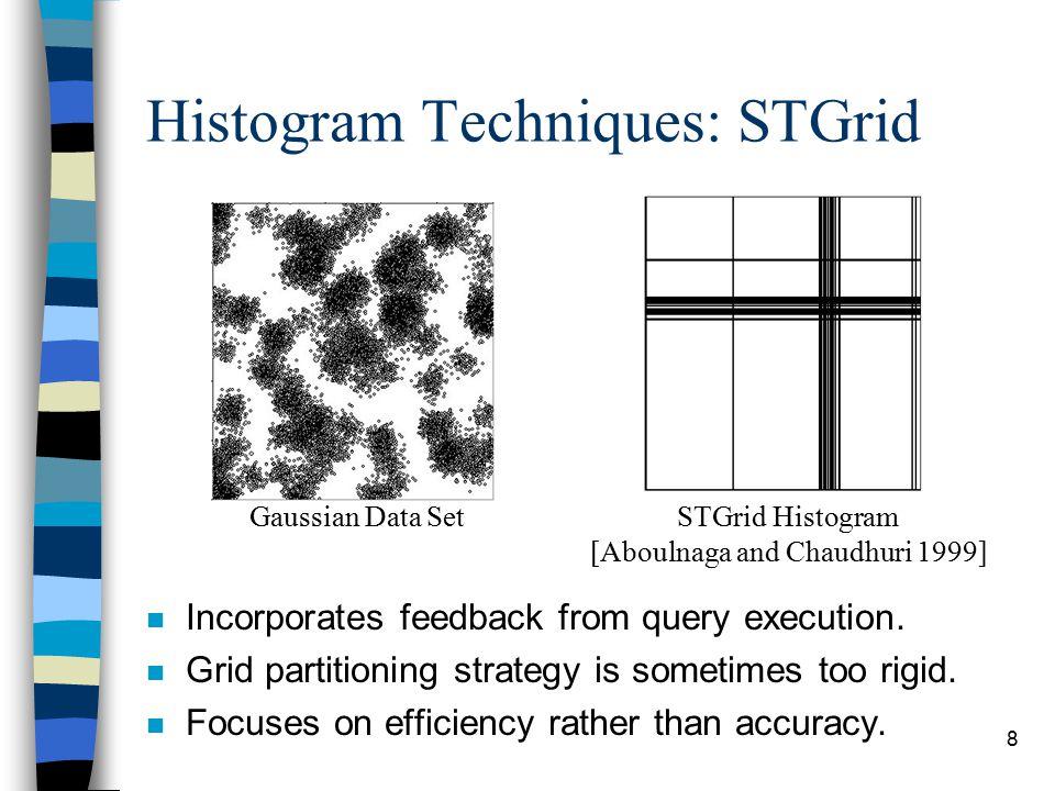 9 Our New Histogram Technique: STHoles n Flexible bucket partitioning.