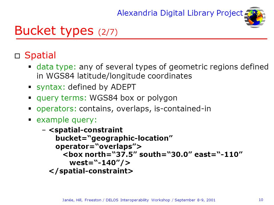 Alexandria Digital Library Project 10 Janée, Hill, Freeston / DELOS Interoperability Workshop / September 8-9, 2001 Bucket types (2/7) o Spatial  dat