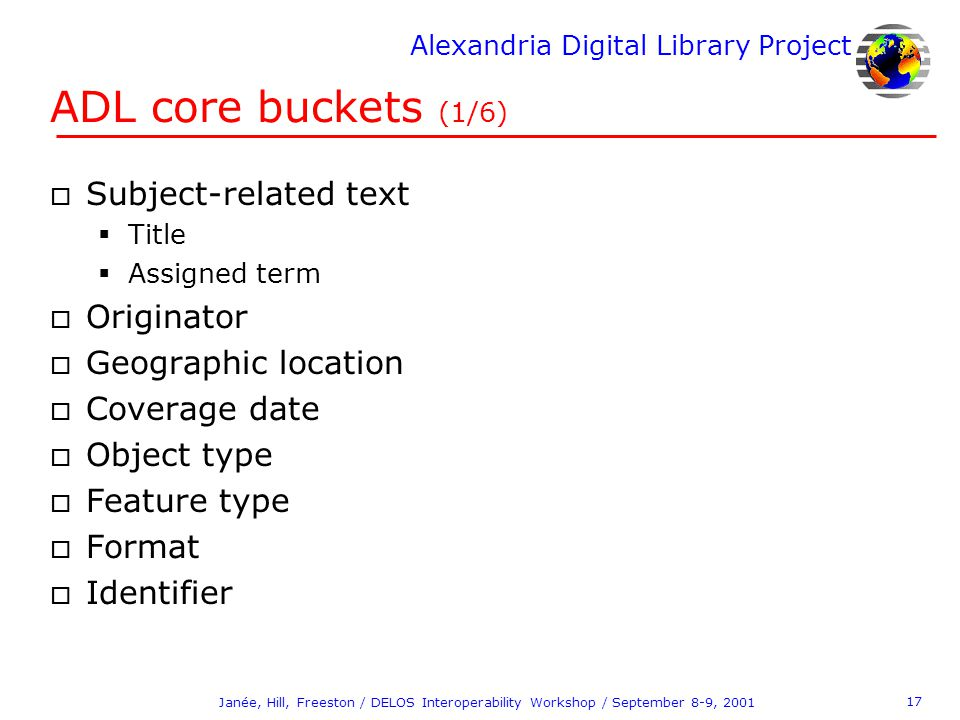 Alexandria Digital Library Project 17 Janée, Hill, Freeston / DELOS Interoperability Workshop / September 8-9, 2001 ADL core buckets (1/6) o Subject-r