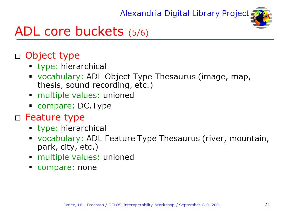 Alexandria Digital Library Project 21 Janée, Hill, Freeston / DELOS Interoperability Workshop / September 8-9, 2001 ADL core buckets (5/6) o Object ty