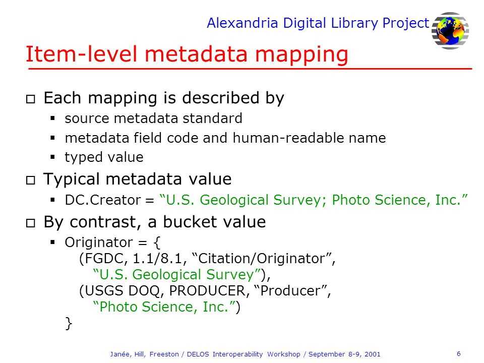 Alexandria Digital Library Project 6 Janée, Hill, Freeston / DELOS Interoperability Workshop / September 8-9, 2001 Item-level metadata mapping o Each