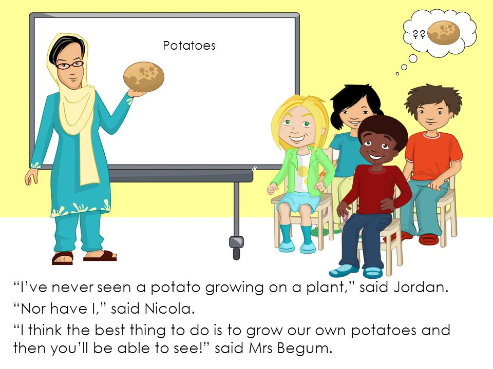 I've never seen a potato growing on a plant, said Jordan.