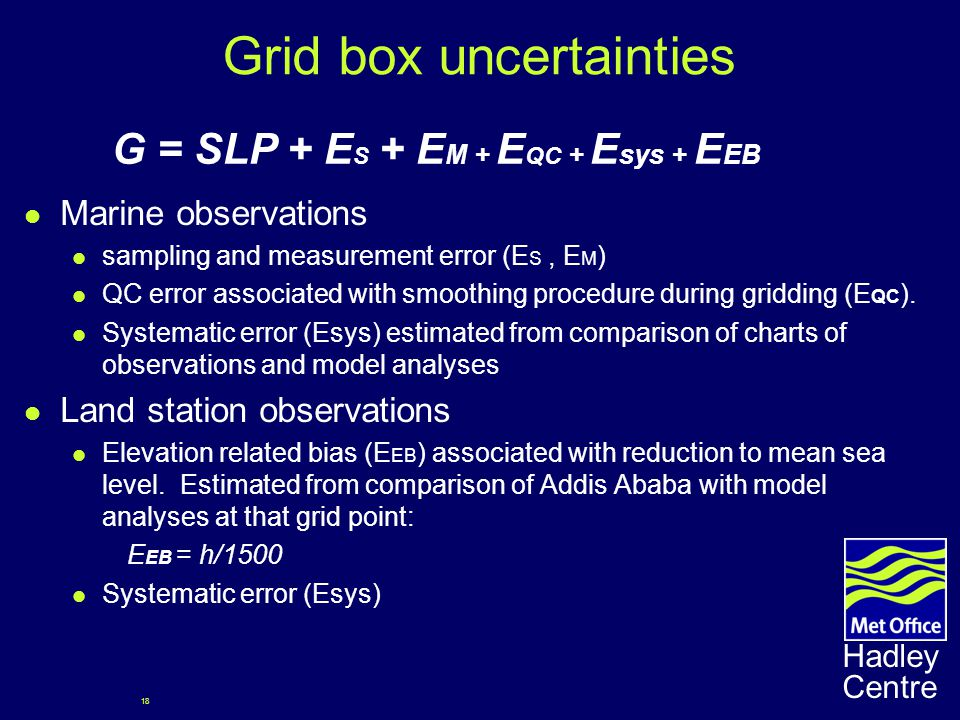18 Hadley Centre Grid box uncertainties Marine observations sampling and measurement error (E S, E M ) QC error associated with smoothing procedure during gridding (E QC ).