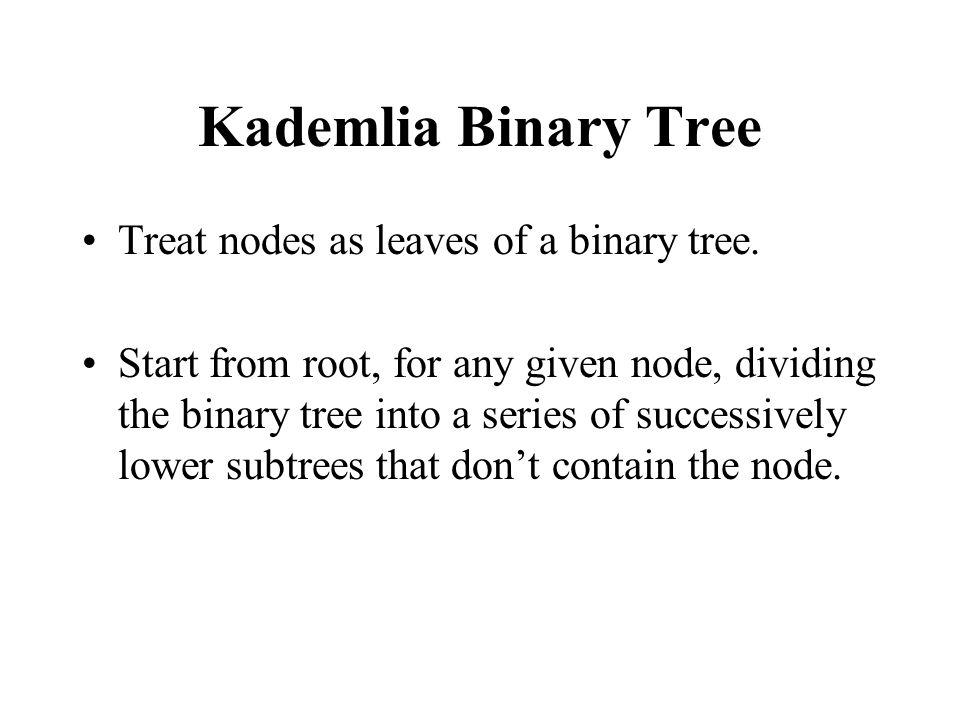 Kademlia Binary Tree Treat nodes as leaves of a binary tree.