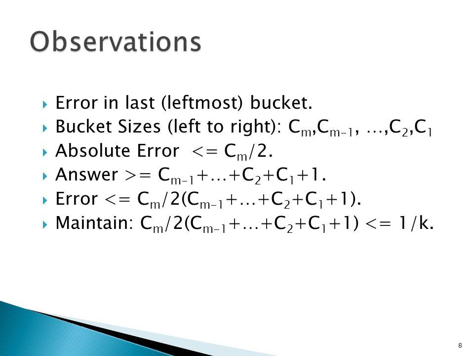  Error in last (leftmost) bucket.