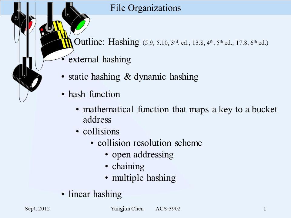 File Organizations Sept. 2012Yangjun Chen ACS-39021 Outline: Hashing (5.9, 5.10, 3 rd.