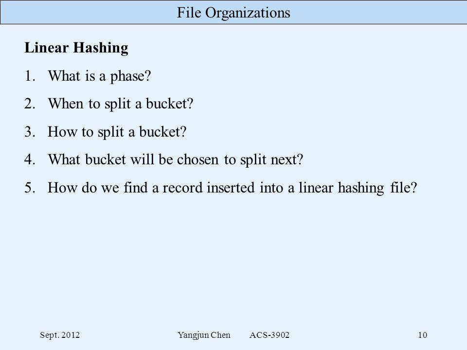File Organizations Sept. 2012Yangjun Chen ACS-390210 Linear Hashing 1.What is a phase.
