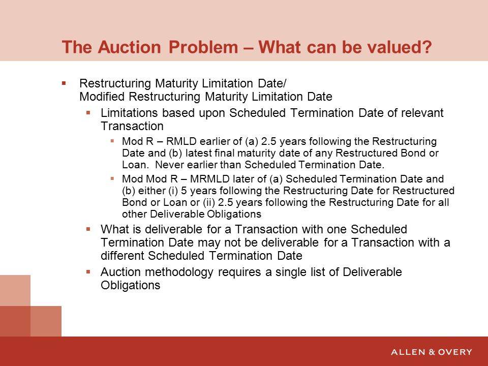 The Auction Problem – What can be valued.