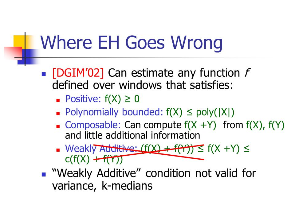 Where EH Goes Wrong [DGIM'02] Can estimate any function f defined over windows that satisfies: Positive: f(X) ≥ 0 Polynomially bounded: f(X) ≤ poly(|X|) Composable: Can compute f(X +Y) from f(X), f(Y) and little additional information Weakly Additive: (f(X) + f(Y)) ≤ f(X +Y) ≤ c(f(X) + f(Y)) Weakly Additive condition not valid for variance, k-medians