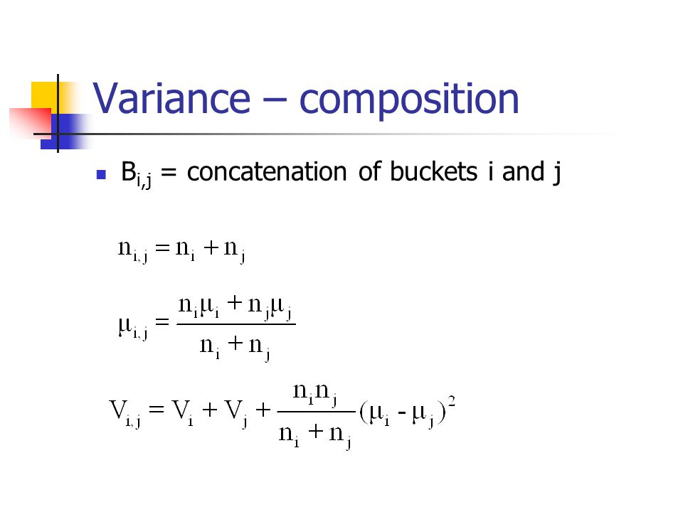 Variance – composition B i,j = concatenation of buckets i and j
