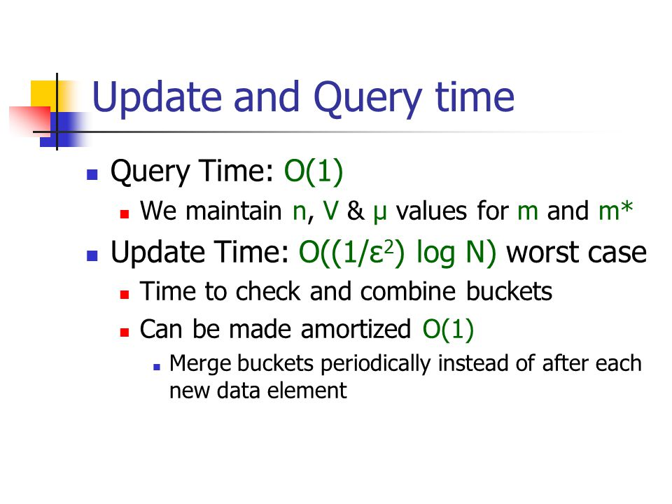 Update and Query time Query Time: O(1) We maintain n, V & μ values for m and m* Update Time: O((1/ε 2 ) log N) worst case Time to check and combine bu