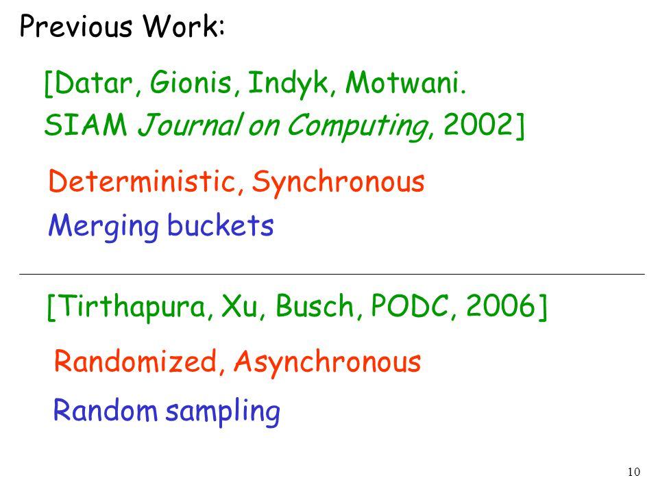 10 Previous Work: [Datar, Gionis, Indyk, Motwani. SIAM Journal on Computing, 2002] Deterministic, Synchronous [Tirthapura, Xu, Busch, PODC, 2006] Rand