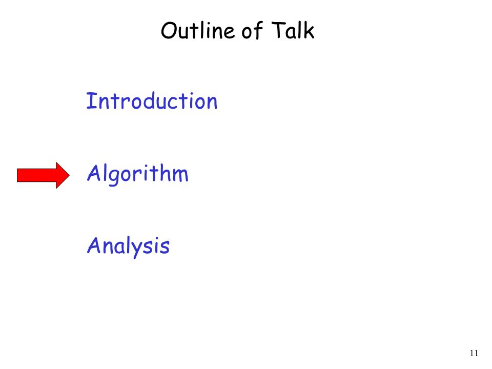 11 Introduction Algorithm Analysis Outline of Talk