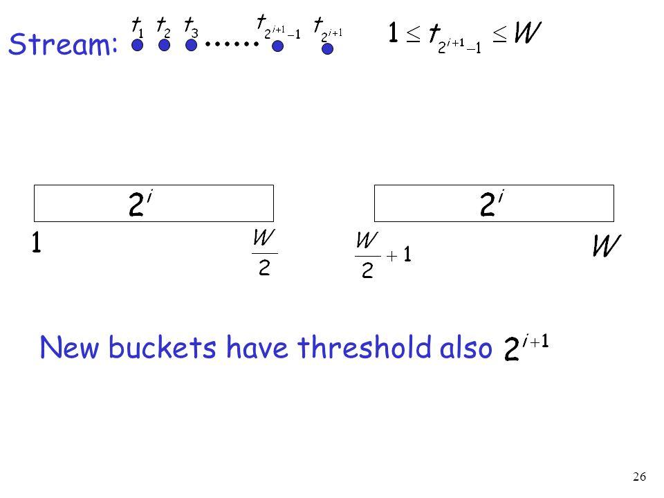 26 Stream: New buckets have threshold also