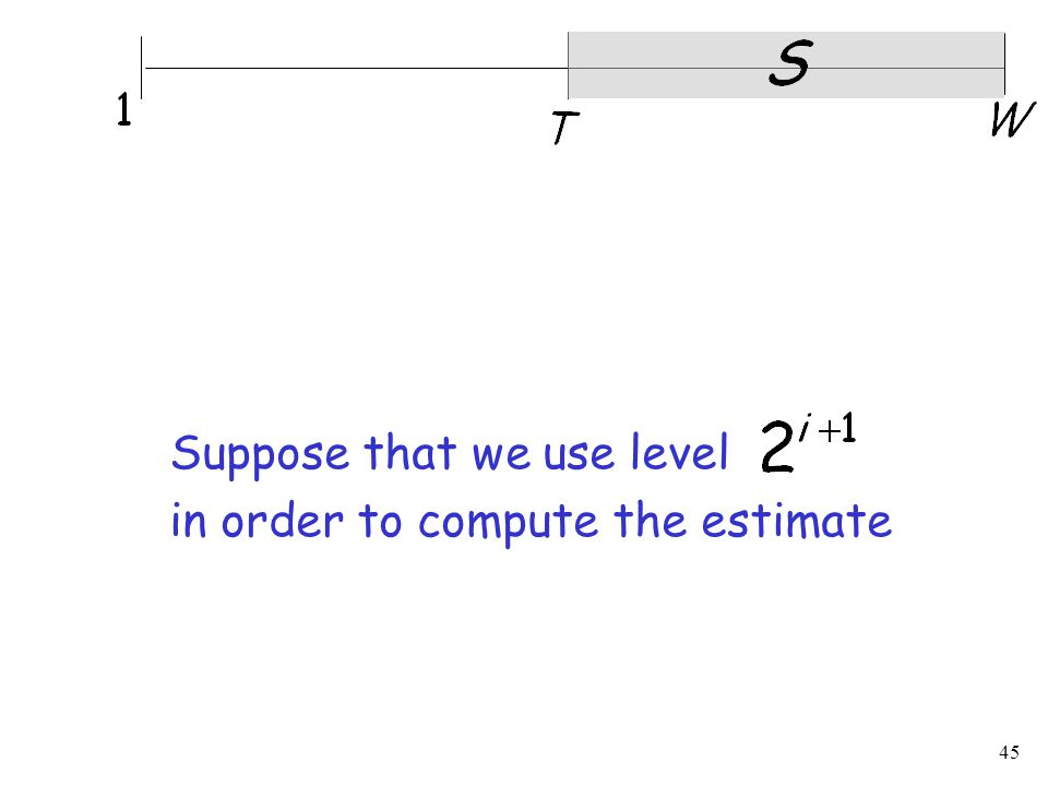 45 Suppose that we use level in order to compute the estimate