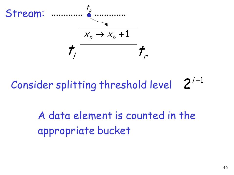 46 Stream: A data element is counted in the appropriate bucket Consider splitting threshold level