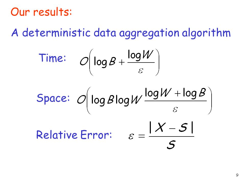 9 Our results: A deterministic data aggregation algorithm Time: Space: Relative Error: