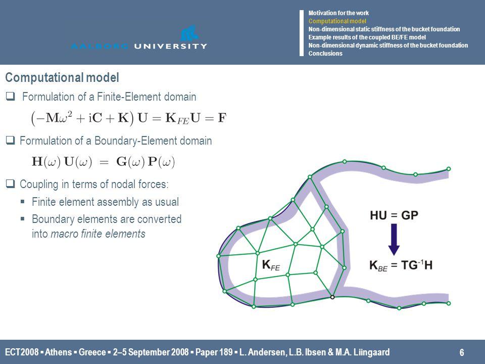 ECT2008 ▪ Athens ▪ Greece ▪ 2–5 September 2008 ▪ Paper 189 ▪ L. Andersen, L.B. Ibsen & M.A. Liingaard Computational model  Formulation of a Finite-El