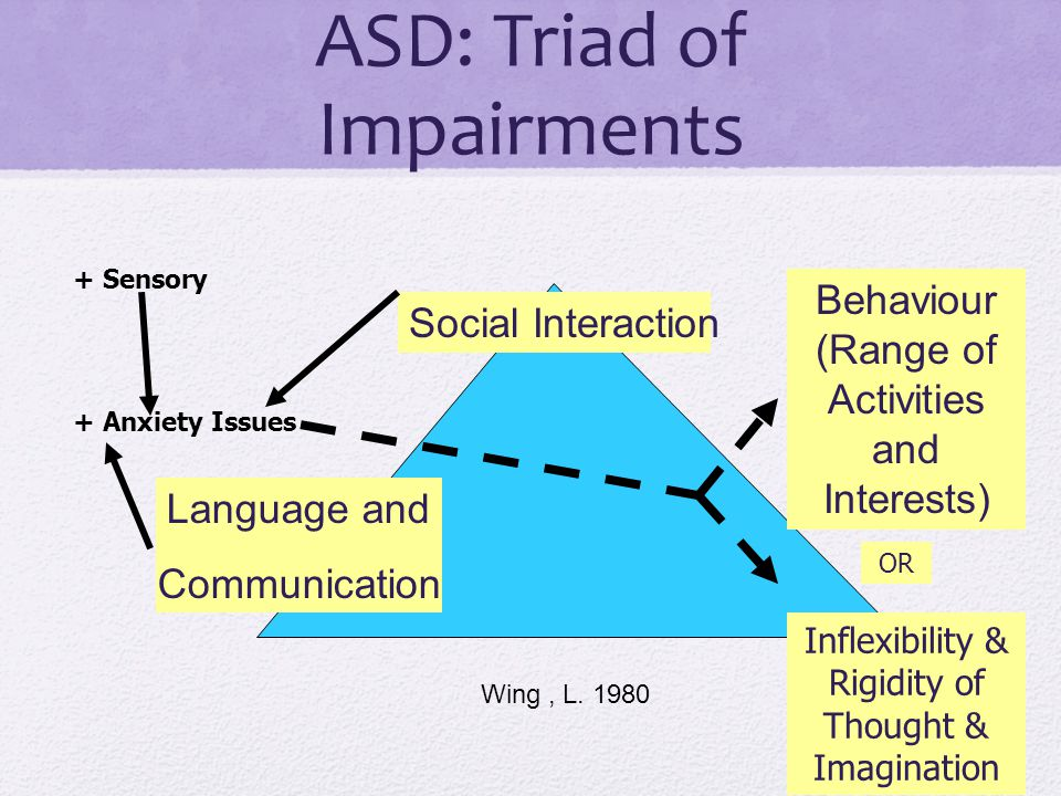 ASD: Triad of Impairments Language and Communication Behaviour (Range of Activities and Interests) Social Interaction Wing, L.