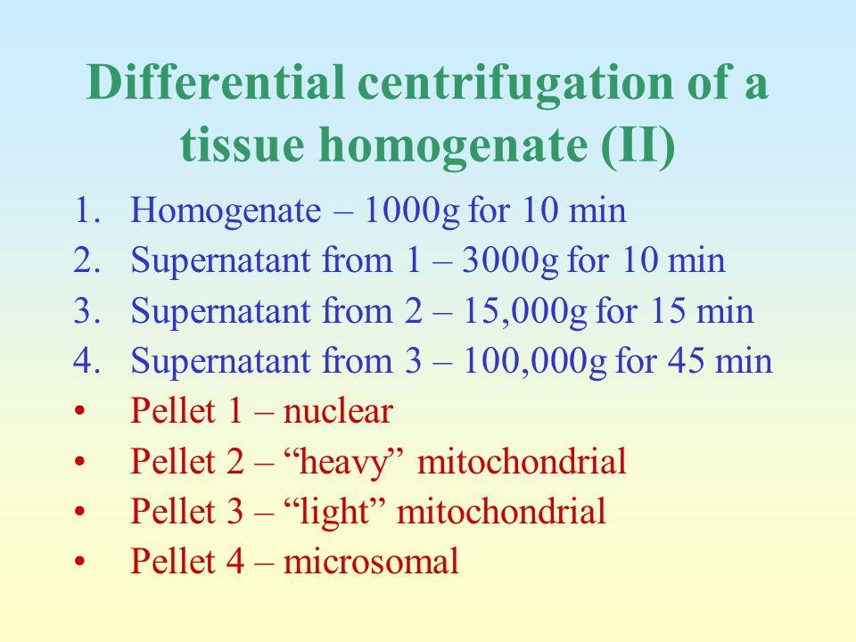 Differential centrifugation of a tissue homogenate (II) 1.Homogenate – 1000g for 10 min 2.Supernatant from 1 – 3000g for 10 min 3.Supernatant from 2 –