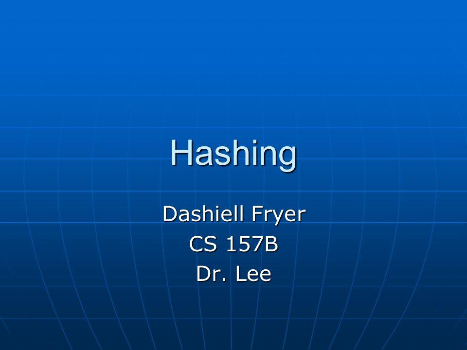 Hashing Dashiell Fryer CS 157B Dr. Lee